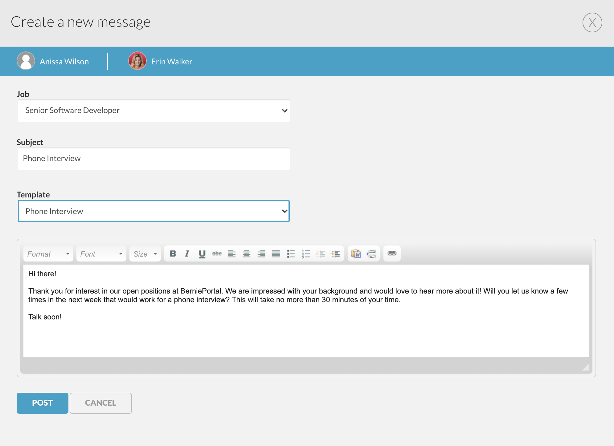 Applicant Tracking Messaging Candidates