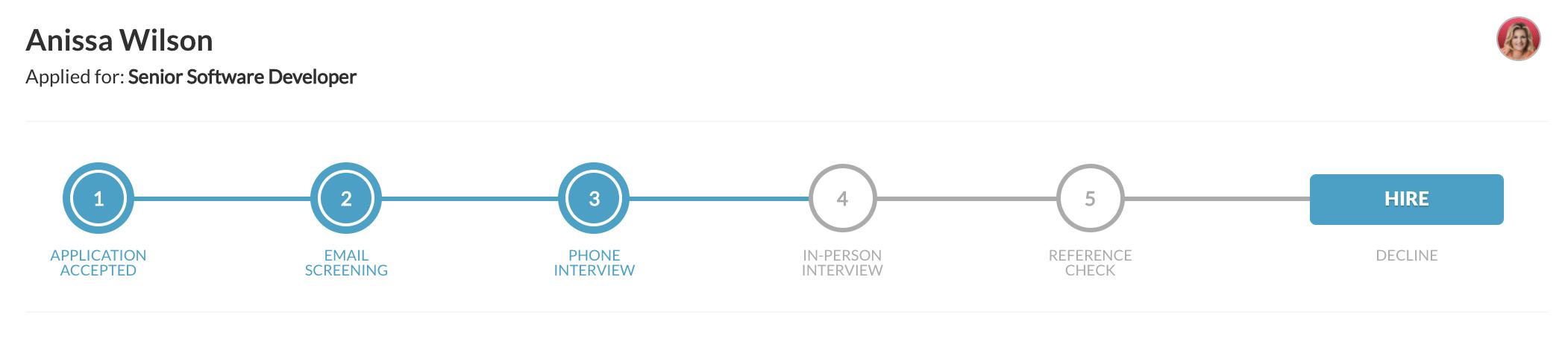 Applicant Tracking Hiring Progress Bar