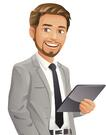 young-businessman-with-beard-vector-id480585585