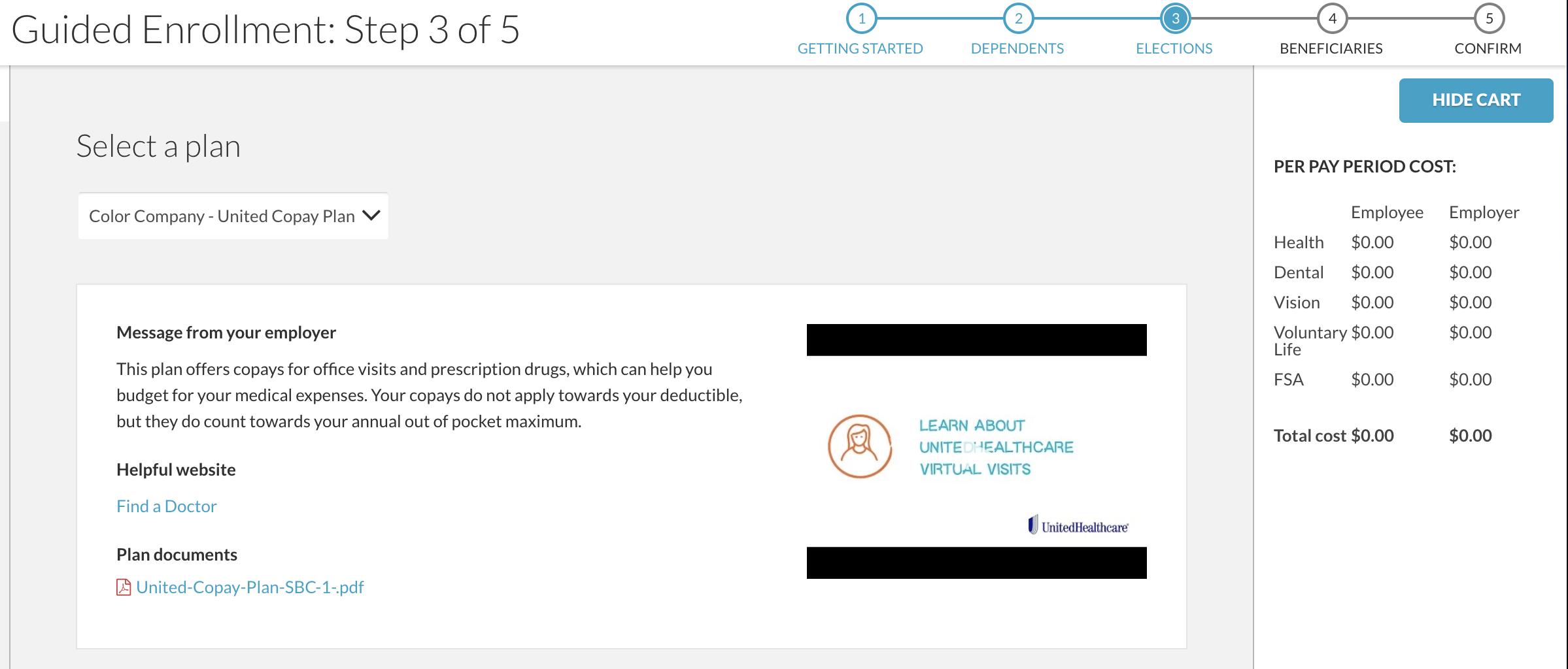 screenshot of BerniePortal benefits enrollment feature