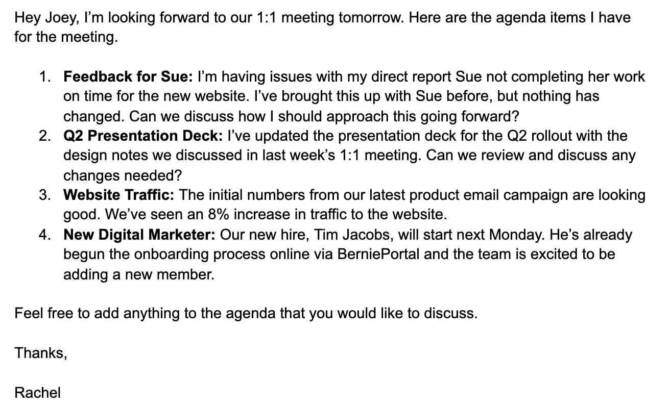 example of one on one meeting agenda